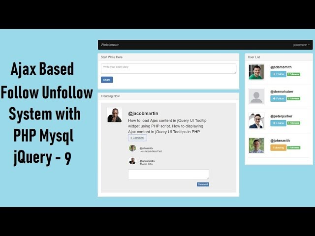 Ajax Based Follow Unfollow System with PHP Mysql jquery - 9