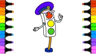 Learn drawing for kids with coloring pages Traffic Lights Signal. How to draw Traffic Lights.Drawing