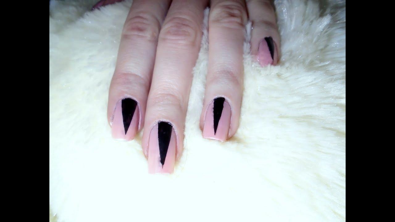 Matowe Paznokcie Pink Nails Czarne Trójkąty Tutorial Youtube