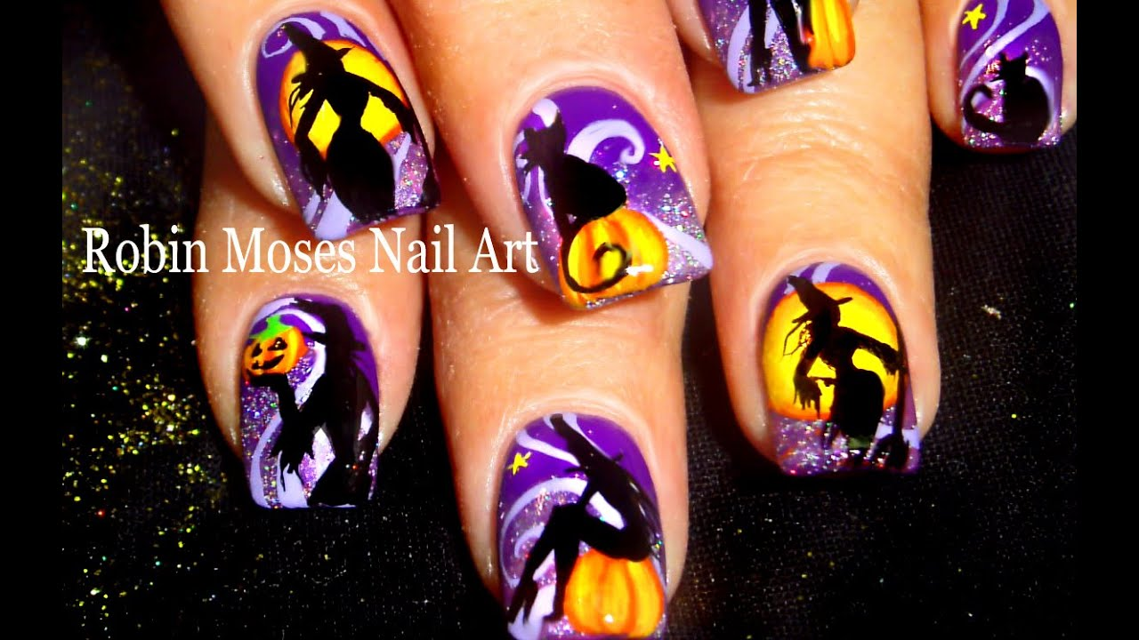 Halloween nail art cats and witches nails design tutorial youtube prinsesfo Gallery