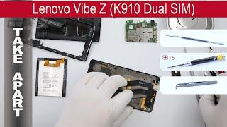 How to disassemble 📱 Lenovo Vibe Z K910, Take Apart, Tutorial