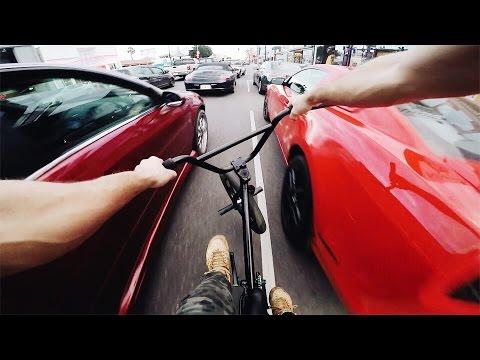 FAST BMX THROUGH LOS ANGELES TRAFFIC!