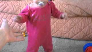 Twin Baby Annie Learning To Walk! 10 Months & 1 Week Old.  Her Best Try Yet!