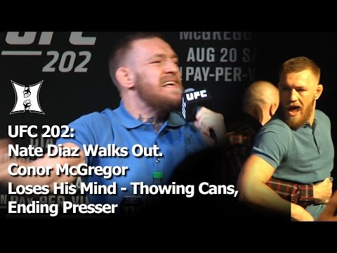 UFC 202: Diaz Leaves Presser w/ 209 Crew; McGregor Screams Insults; Camps Hurl Water Bottles! (FULL)