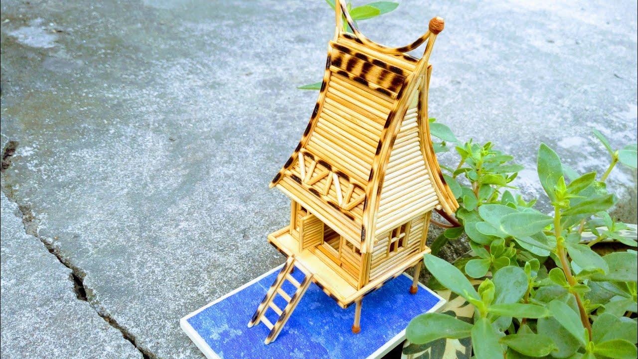 Cách làm mô hình nhà rông mini bằng tăm tre. mini model house made of bamboo toothpick