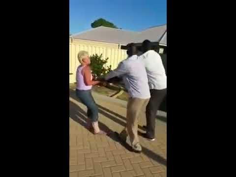 Racist old Lady in Perth Australia, attacks Black men.