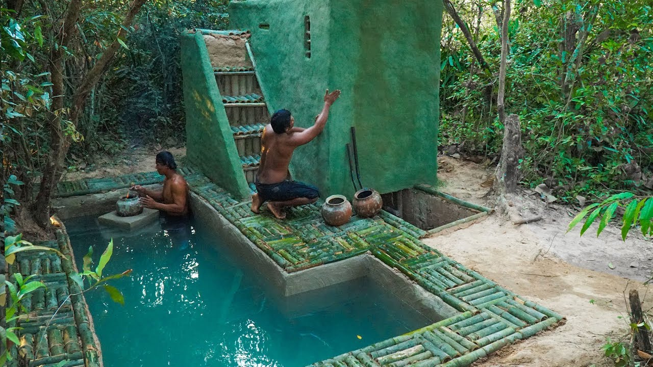 Build The Most Green Viking House Underground And Bamboo Pool