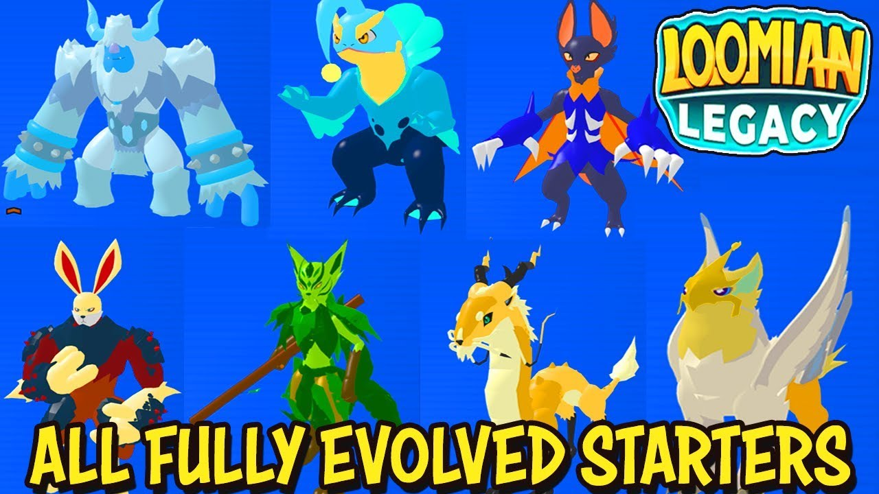I Got All Fully Evolved Starters In Loomian Legacy Roblox