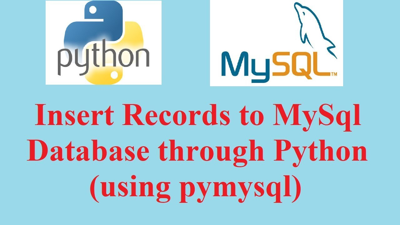 Python Database Tutorial: Insert Record to MySql table using Python  (pymysql)