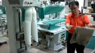 legger press and topper blower for laundry factory