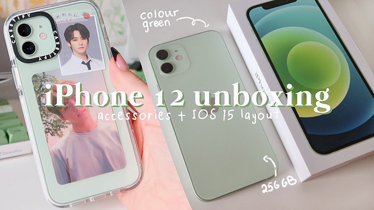 iPhone 12 green 2021 unboxing🍏[256 gb]| accessories + IOS15 setup layout (aesthetic & ASMR)