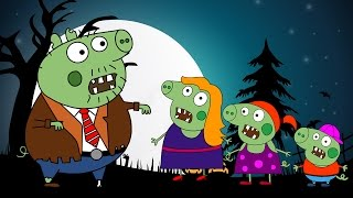 Peppa pig zombie. Halloween coloring pages. Kids animation collection.