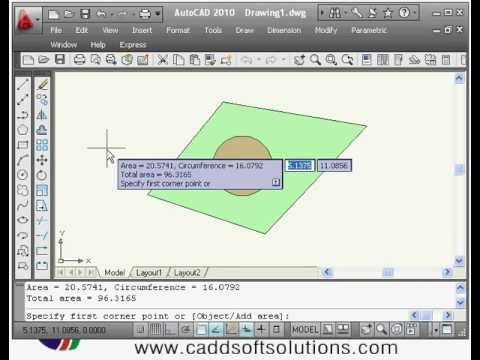autocad tutorial area calculation command
