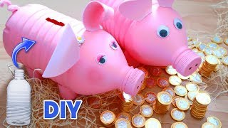 Easy crafts for Children DIY piggy bank with recycled plastic bottle