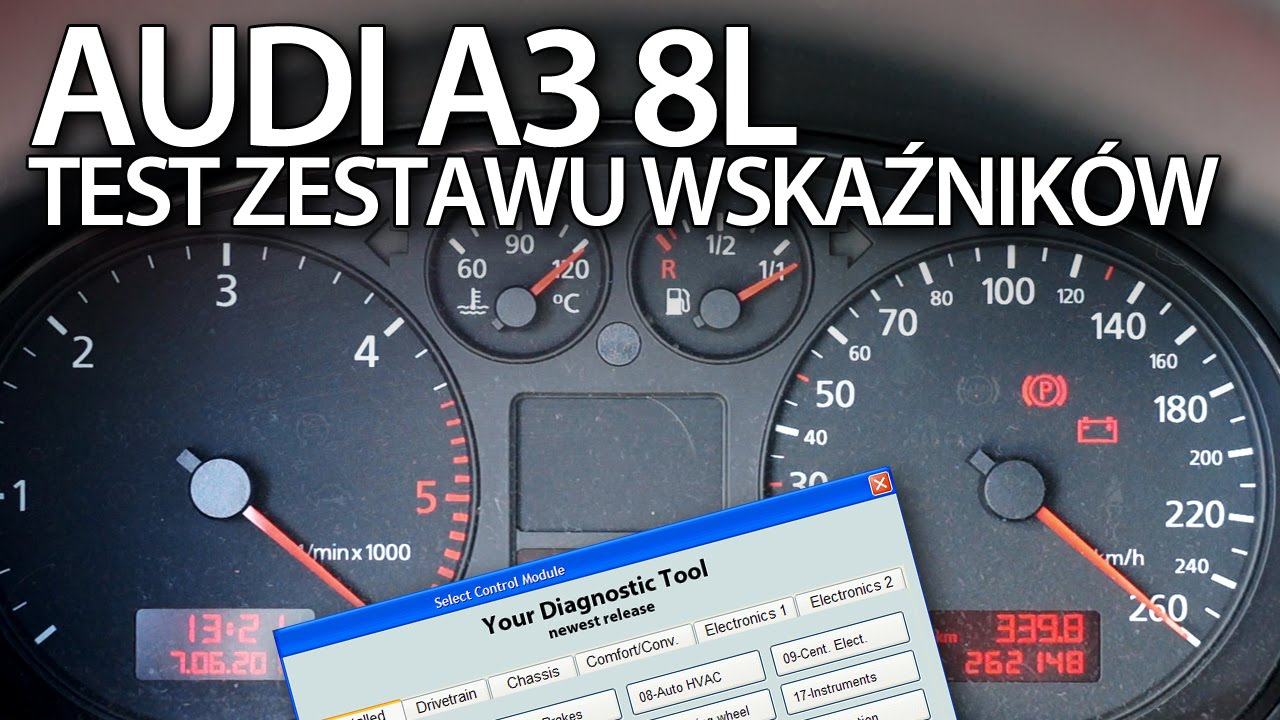 Audi A3 8L test wyjść zegarów (diagnostyka VCDS) - YouTube