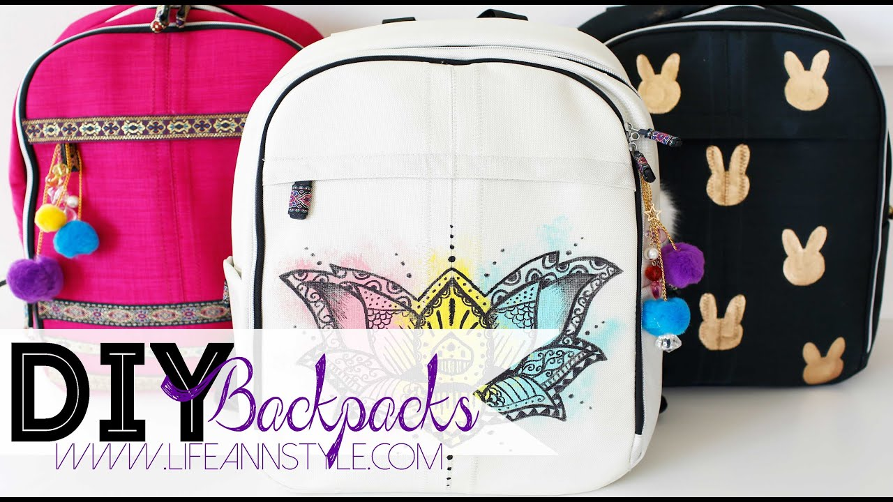 Diy easy backpack makeover w paint markers ann le youtube Ideas for hanging backpacks