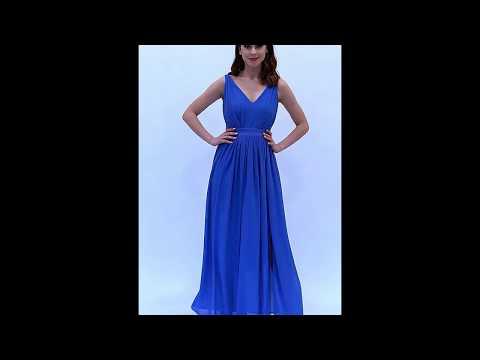Video: Długa szyfonowa sukienka z dekoltem