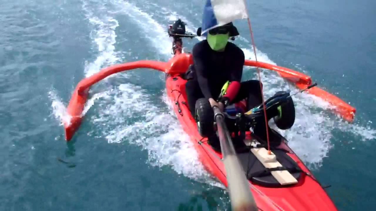 motorized kayak self made outrigger youtube