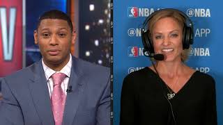 New York Knicks' sideline reporter, Rebecca Haarlow, joins the broadcast to talk about the Knicks