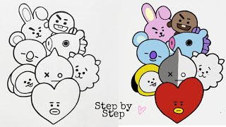 How to draw BT21 Characters Step by Step   Drawing Tutorial   YouCanDraw