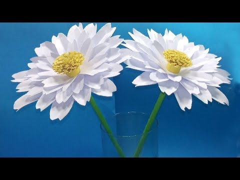 How to make a paper flower Daisy | Beautiful Paper Flowers - Jarine's Crafty Creation