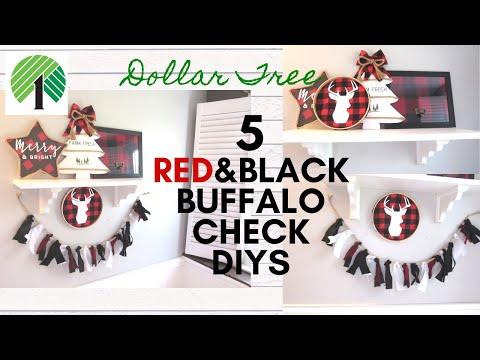 DOLLAR TREE DIY | Buffalo Check Decor| Rustic Farmhouse Christmas| POTTERY BARN Inspired
