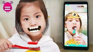 이빨을 잘 닦을 수 있다고요?!! 서은이의 브러쉬 몬스터 핸드폰 어플 뽀로로 치약 Brush Monster App and Pororo Toothpaste