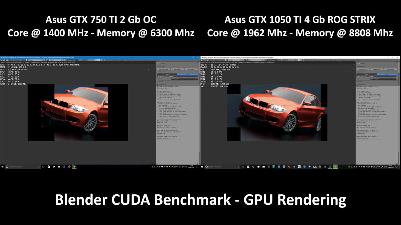 GTX 1050 TI vs GTX 750 TI - Blender CUDA Blenchmark - GPU Rendering -  1080p60