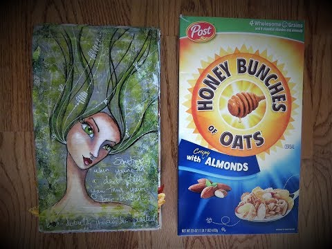 Completed Cereal Box Art Journal Flip Through