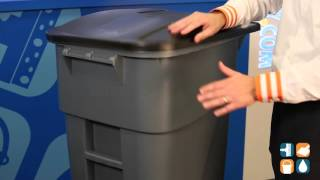 Rubbermaid 9W27 Brute 50 Gallon Rollout Trash Can with Lid, Gray