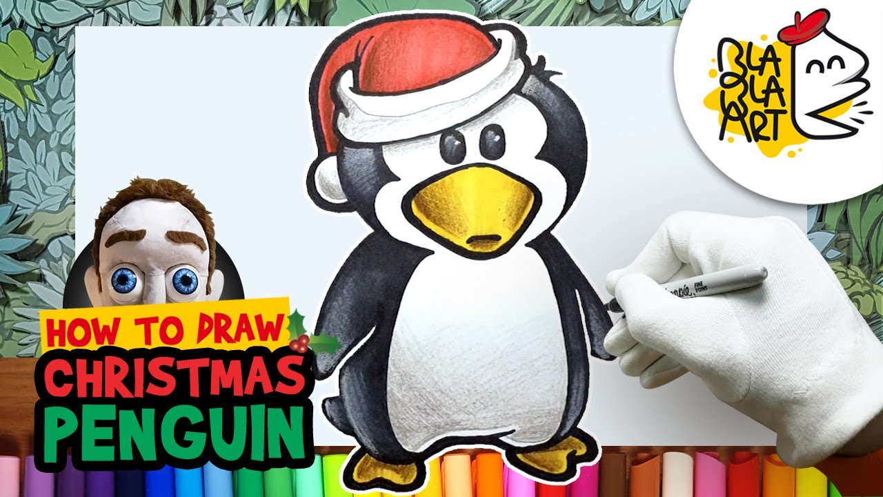How To Draw A Christmas Penguin Best Christmas Drawing And
