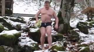 Russian style -  winter swimming at the river Tara, 05/01/2015