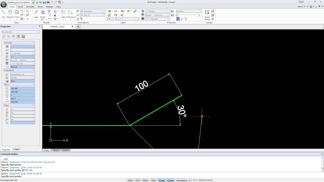 Drawing Lines In Draftsight : Draftsight draw a line at an angle doovi