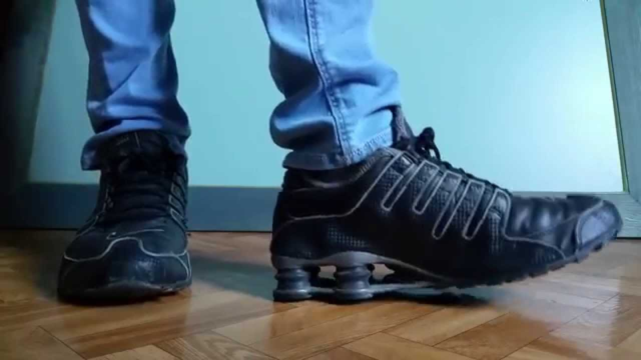 sports shoes 29fbe 8656c Nike shox NZ premium black and blue skinny jeans - YouTube