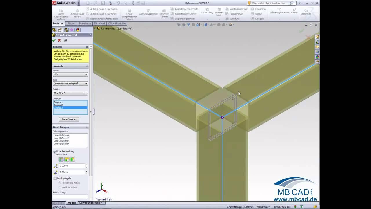 SolidWorks Schweisskonstruktion und Gittersystem - Video Tutorial ...