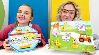 Spielzeugvideo für Kinder. Puzzle-Challenge mit Ayça und Nicole