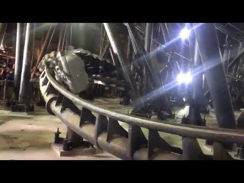 Flight of Fear At Kings Island - LIGHTS ON off ride!