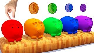 Learn Colors With Piggy Bank Surprise For Kids #l 3d Colours With Animals for Children