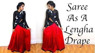 How to Drape a Saree into a Lehengha / Half Saree Tutorial | Thuri Makeup