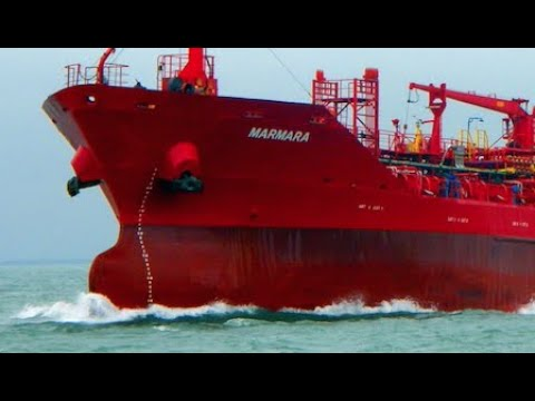 Small Oil Tanker Ship MARMARA Work In Sea Turkey