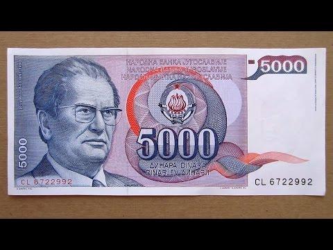 5000 Yugoslavian Dinars Banknote (Five Thousand Dinars Yugoslavia: 1985) Obverse & Reverse