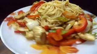 Удон,жаренная лапша с овощами