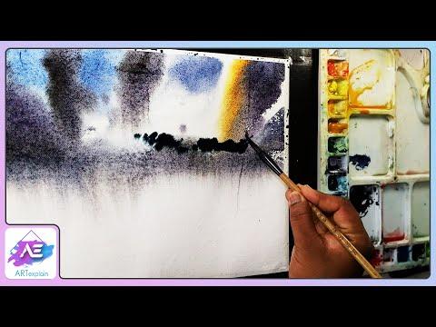 Watercolor painting landscape sunset by Art Explain