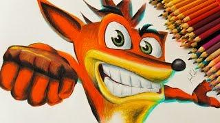 Como colorir com lápis de pintar - Desenhando o Crash Bandicoot