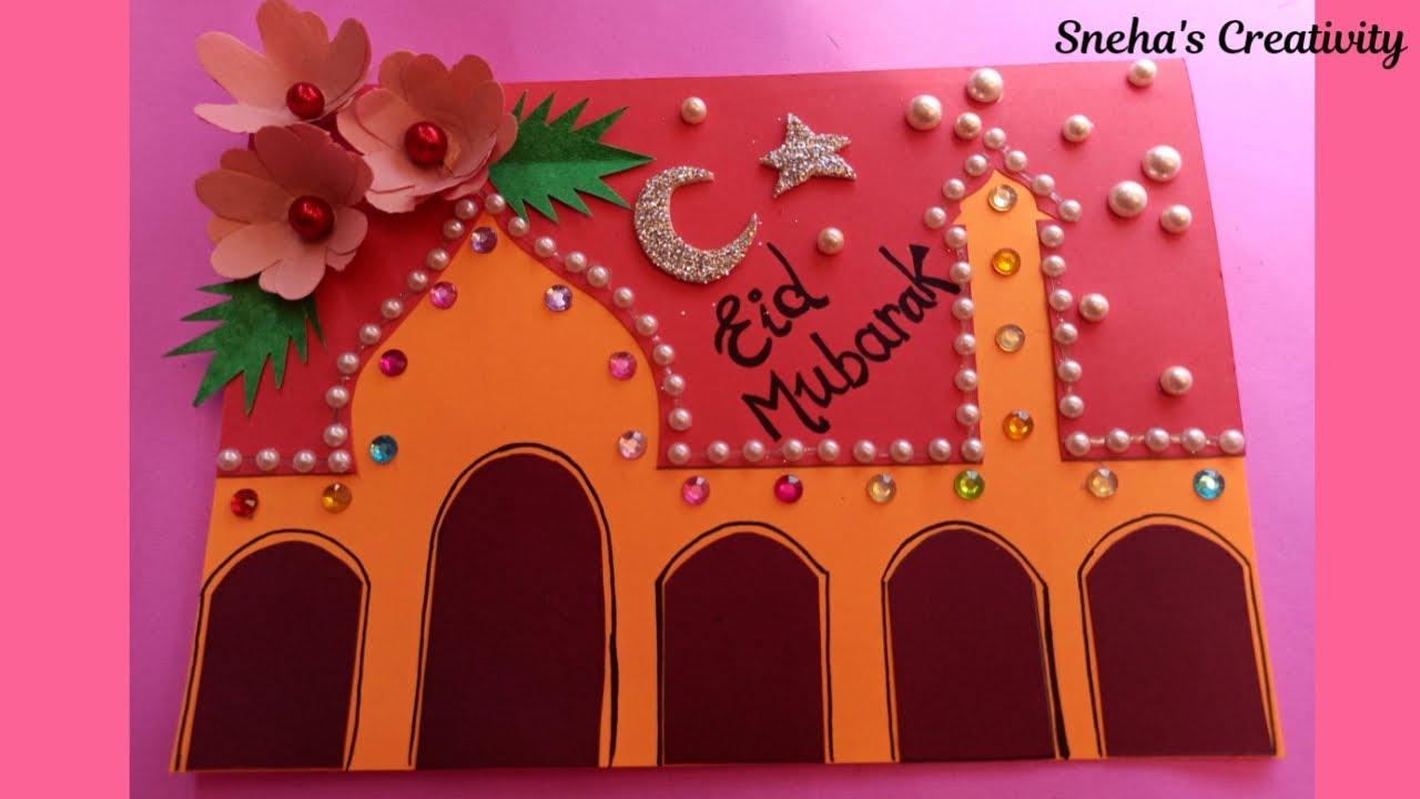 how to make eid mubarak card  handmade greeting card for