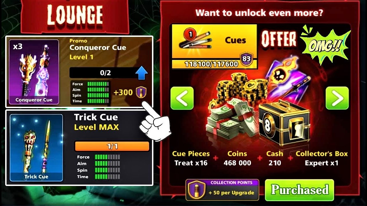 8 ball pool Trick Cue Level Max 👋 Offers Haunted House ✔ Cue Power Rank 84