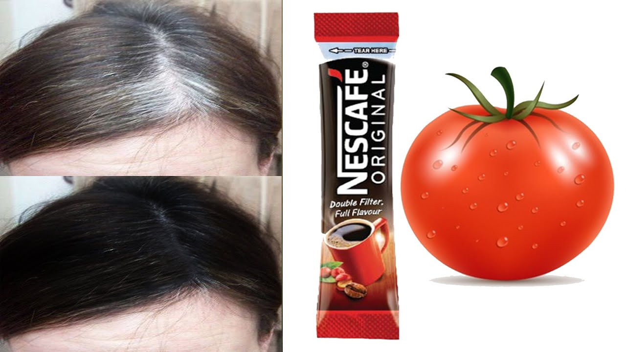 White hair to black hair naturally with coffee and tomato in just 4 minutes  permanently 100 works - YouTube
