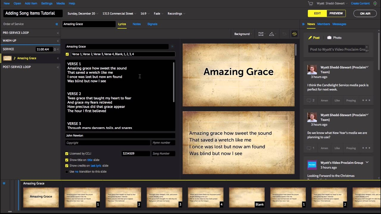 Adding Worship Song Lyrics to Slides in Proclaim Church Presentation  Software