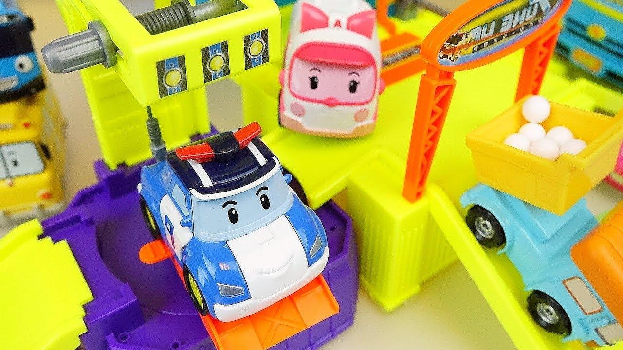 Police car toys Poli and cars City construction play