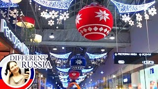 Moscow's Mega Mall Christmas Decoration 2017. Russian Huge Shopping Plaza on Different Russia Channe